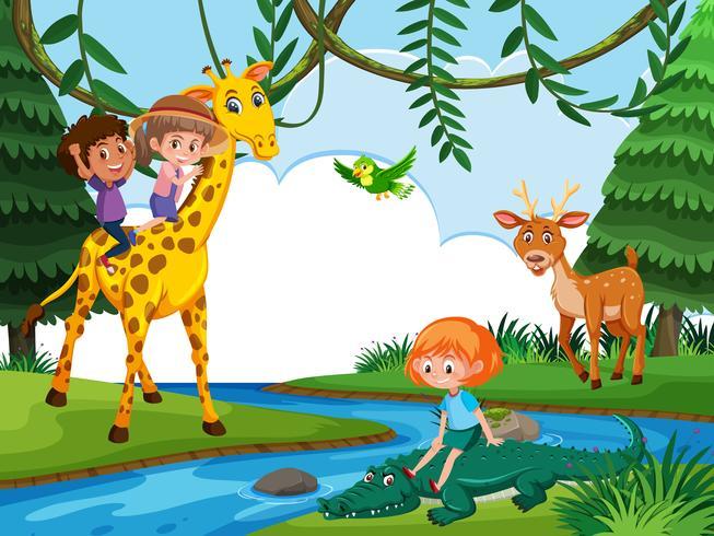 Children riding animal in nature scene vector