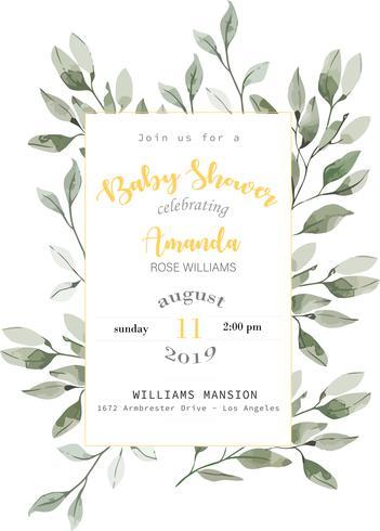 Cartão do convite do chá de fraldas vetor