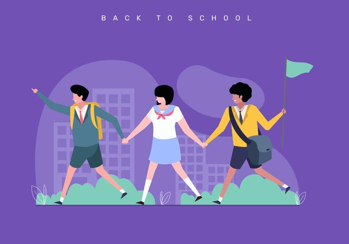 Ilustración de concepto de regreso a la escuela para niños