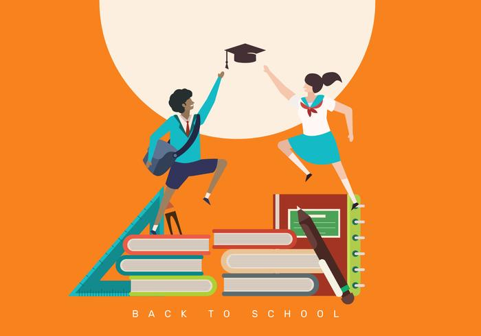 Enfants, retour, à, école, concept, illustration