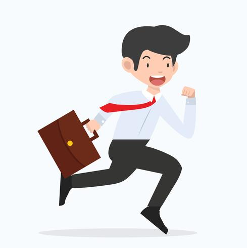 Businessman running with a briefcase cartoon