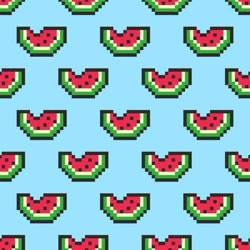 Pixel Art Watermelon Slices Seamless Pattern vector