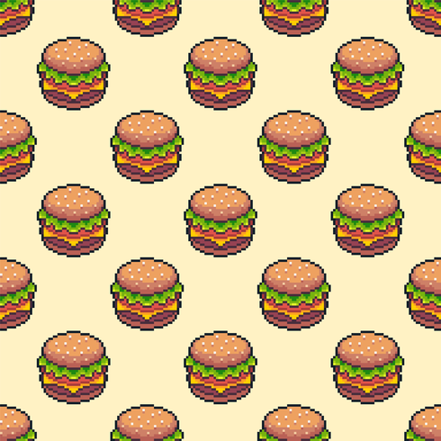 Fondo senza cuciture del cheeseburger di Pixel Art vettore