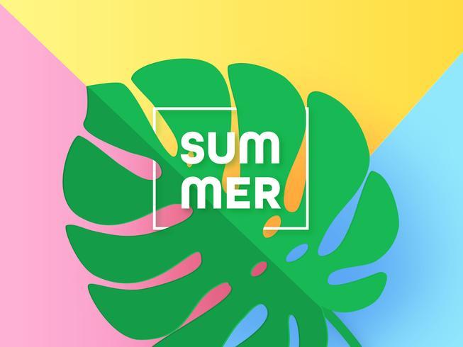 Paper Art Monstera zomer achtergrond