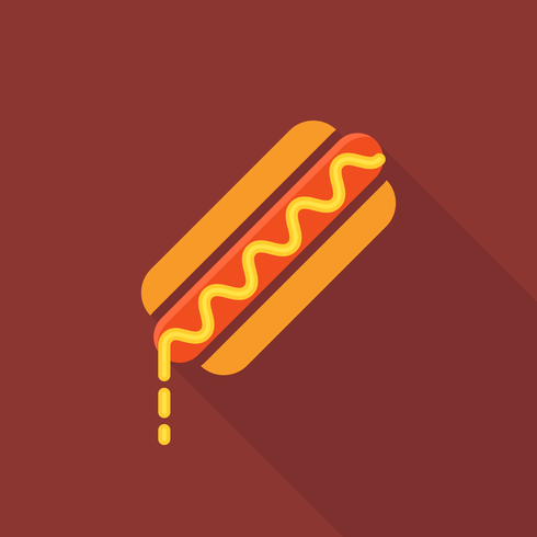 Flat Hotdog Vector Icon