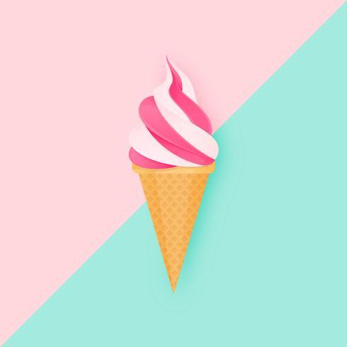Crème glacée molle sur fond de duel pastel