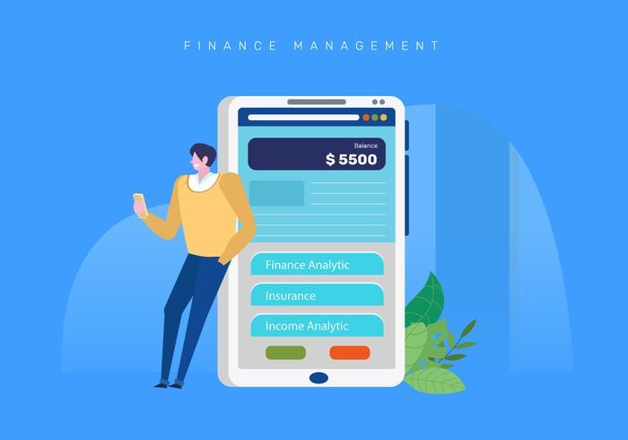 Illustrazione dell'applicazione mobile della gestione di finanze