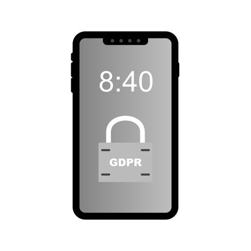 Vektor GDPR Mobile Sicherheitsschlosssymbol