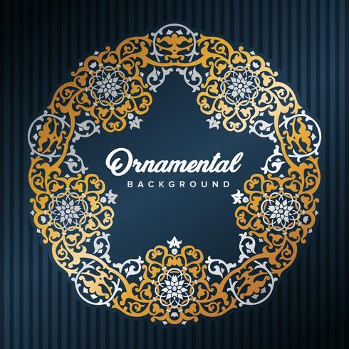 Marco árabe estrella. Diseño islámico enmarcado por patrones dorados. Elemento de decoración de la mezquita. Fondo de elegancia con área de entrada de texto en un centro. Ilustracion vectorial