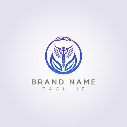 Skapa en logotyp med en kombination av cirklar, blad och hälsosymboler för ditt företag eller varumärke