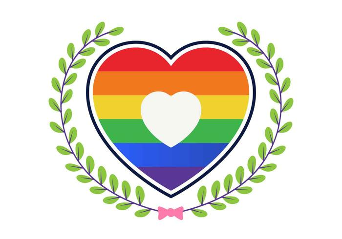 Love With Rainbow Vector Illustration