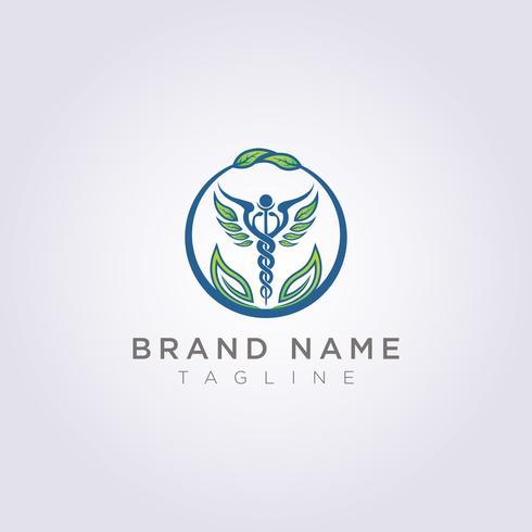 Diseñe un logotipo con una combinación de círculos, hojas y símbolos de salud para su empresa o marca