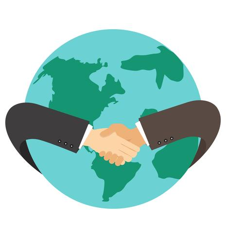 businessman hand shaking hand with earth