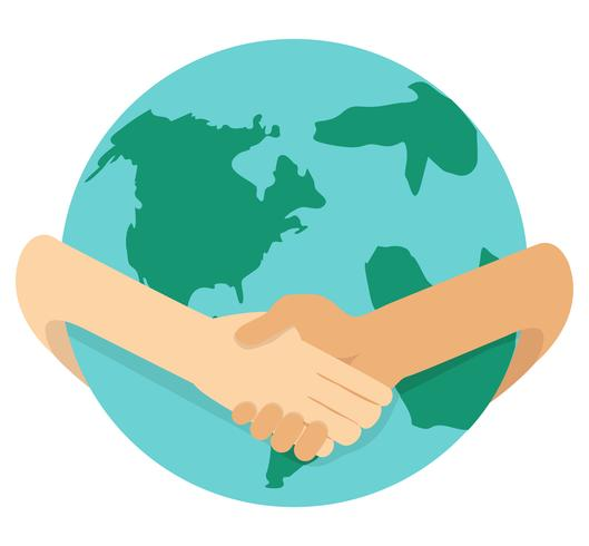 businessmen shaking hands around the globe vector