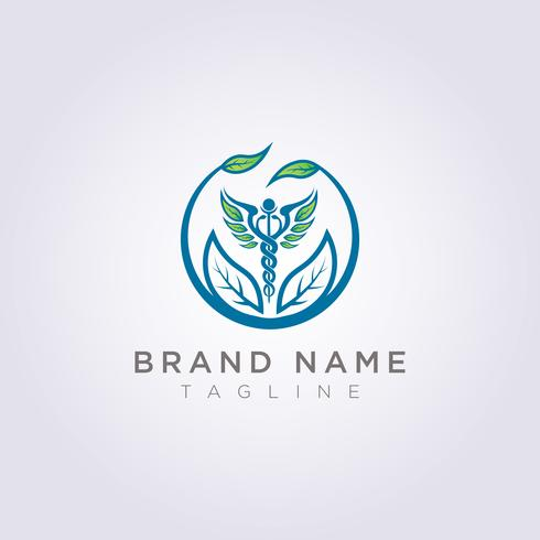Design a logo with a combination of circles, leaves and health symbols for your business or brand