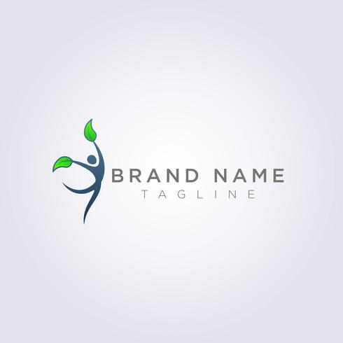 Logo design symbols of people dancing with leaf hands for your Business or Brand