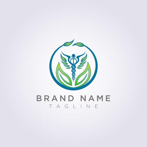 Entwerfen Sie ein Logo mit einer Kombination aus Kreisen, Blättern und Gesundheitssymbolen für Ihr Unternehmen oder Ihre Marke