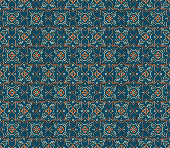 Simetrias decorativas sem costura padrão, vetor de padrão de ornamento