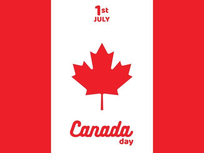 Manifesto del giorno felice del Canada con progettazione di vettore della bandiera