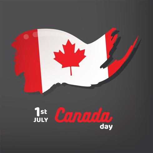 Canada Flag with Brush Style Vector Design