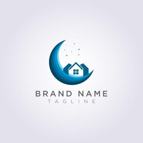 Disegna un logo per la tua casa sulla luna con le stelle per il tuo Business o Brand vettore
