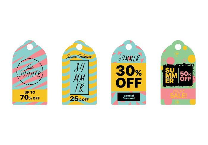 Conjunto de colección de etiqueta de venta de verano colorido vector