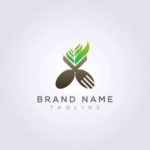 Logo spoon fork with leaves for your restaurant brand or business vector