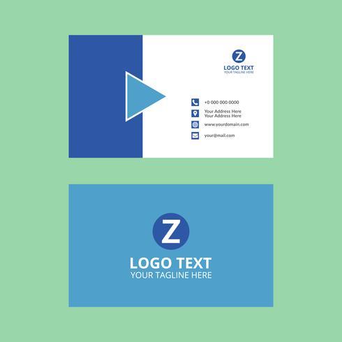 Tarjeta de visita corporativa azul vector