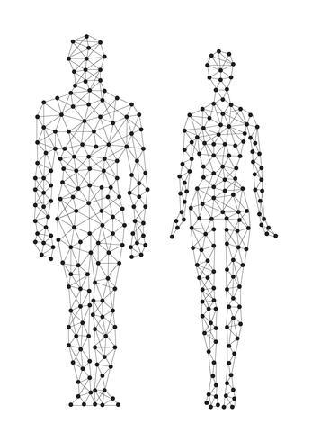 Línea humana en paralaje. vector