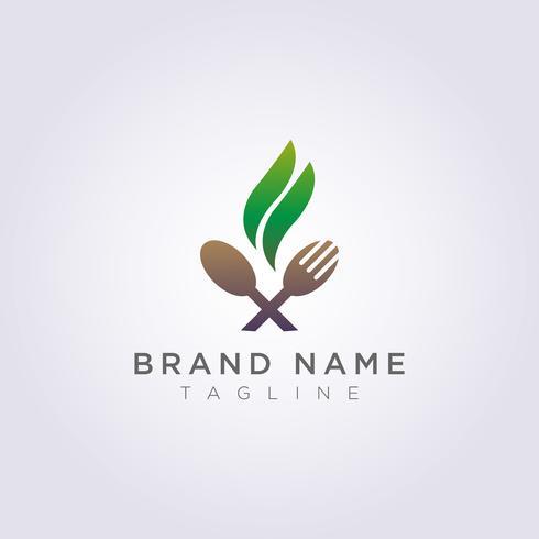 Logo cuchara tenedor con hojas para la marca de tu restaurante o negocio. vector