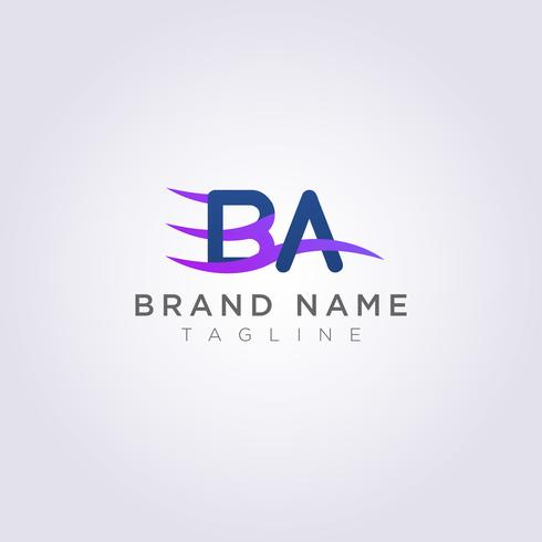 Logo Icon Design BA letters with waves for your brand or business vector