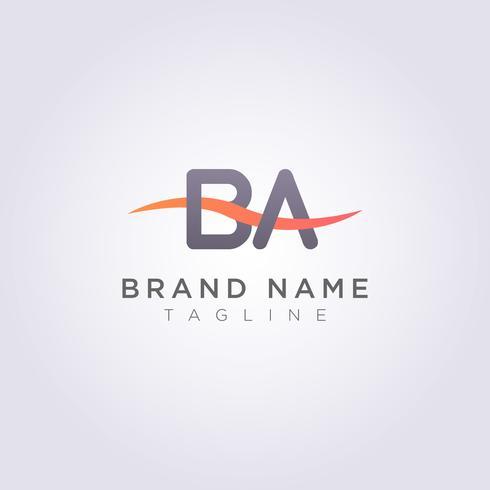 Logo Icon Design BA letras con olas para tu marca o negocio vector