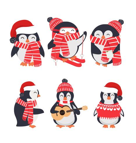 winter penguin wearing red hat and scarf set