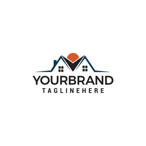 Logotipo de bienes raíces con techos de pareja Logo diseños Plantilla vector