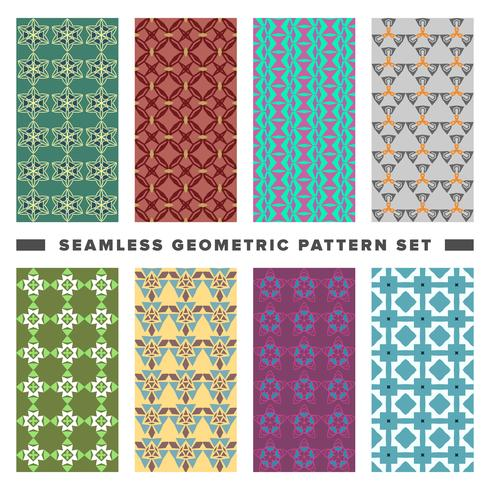 Set of seamless decorative geometric shapes pattern vector
