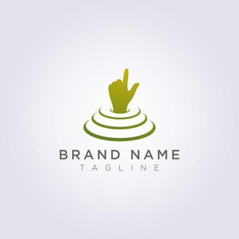 The hand logo design is on the stage and points up for your business or brand