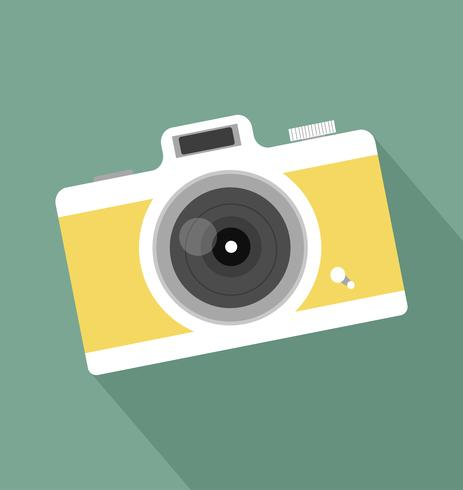 retro vintage camera long shadow icon vector