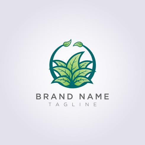 Diseño creativo del logotipo de la planta de la hoja del círculo para su negocio o marca vector