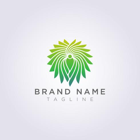 Logo People Icon Design with ornaments around it Decorative Abstract Luxury