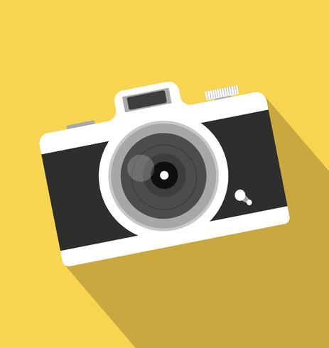 icono de cámara larga sombra vintage vector