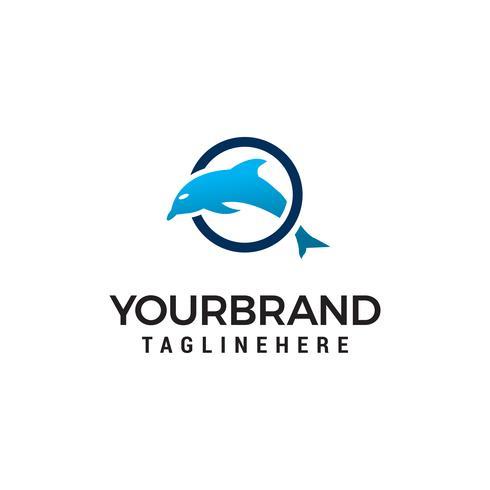 Dolphin jumping círculo logo diseño concepto plantilla vector