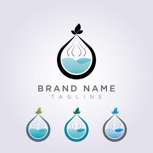 Parfum logo pictogram ontwerp met bladeren op de top voor schoonheid of spa