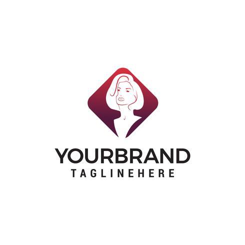 salón de belleza para mujeres de belleza, peluquería, vector de plantilla de concepto de diseño de logotipo cosmético
