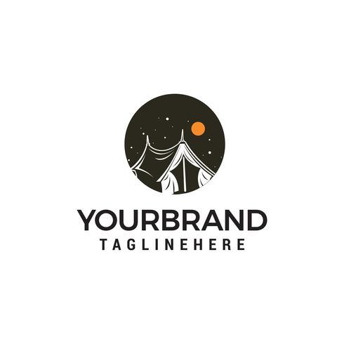 Kampierender Logodesignkonzept-Schablonenvektor im Freien