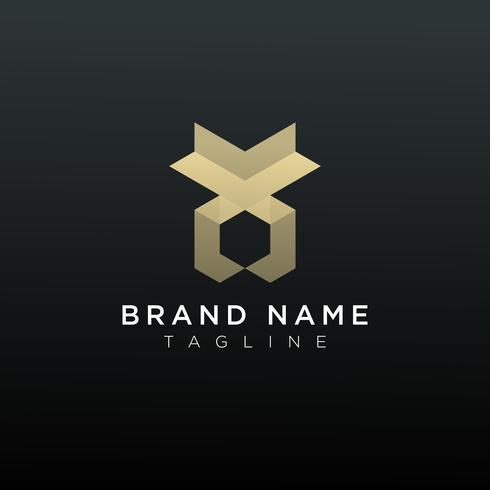 Diseño de icono de logotipo geométrico abstracto lujoso
