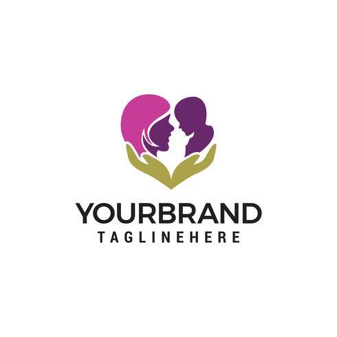 Vector de plantilla de concepto de diseño de logotipo de mamá bebé cuidado