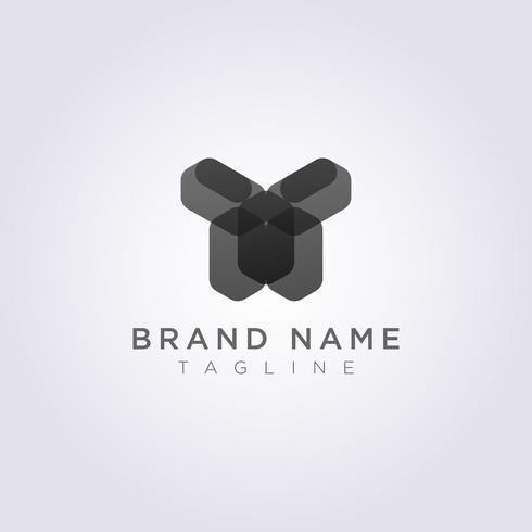 Diseño de icono de logotipo geométrico rectangular en forma de humano vector