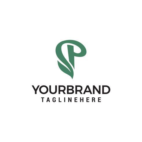 Eco verde letra P logotipo modelo Design