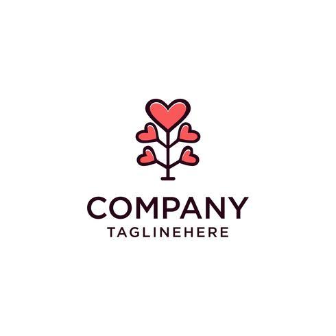 Love Tree Illustration Design, illustration de logo vectoriel