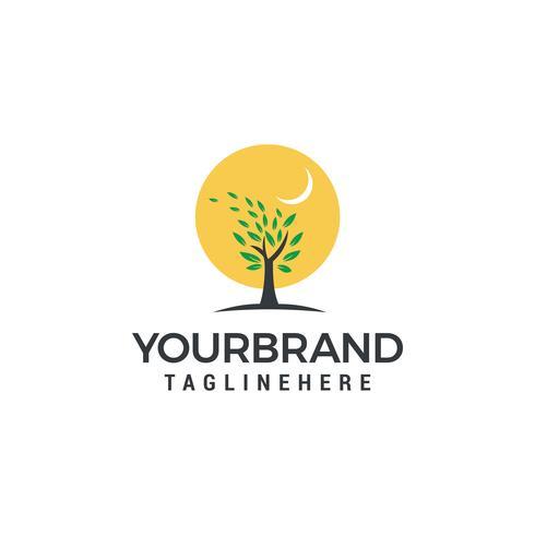 Logotipo do sol com um vetor de modelo de logotipo de árvore